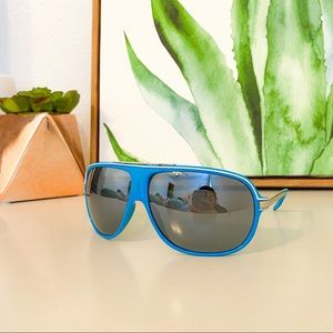 Blue Aviator Sunglasses with White Piping💙